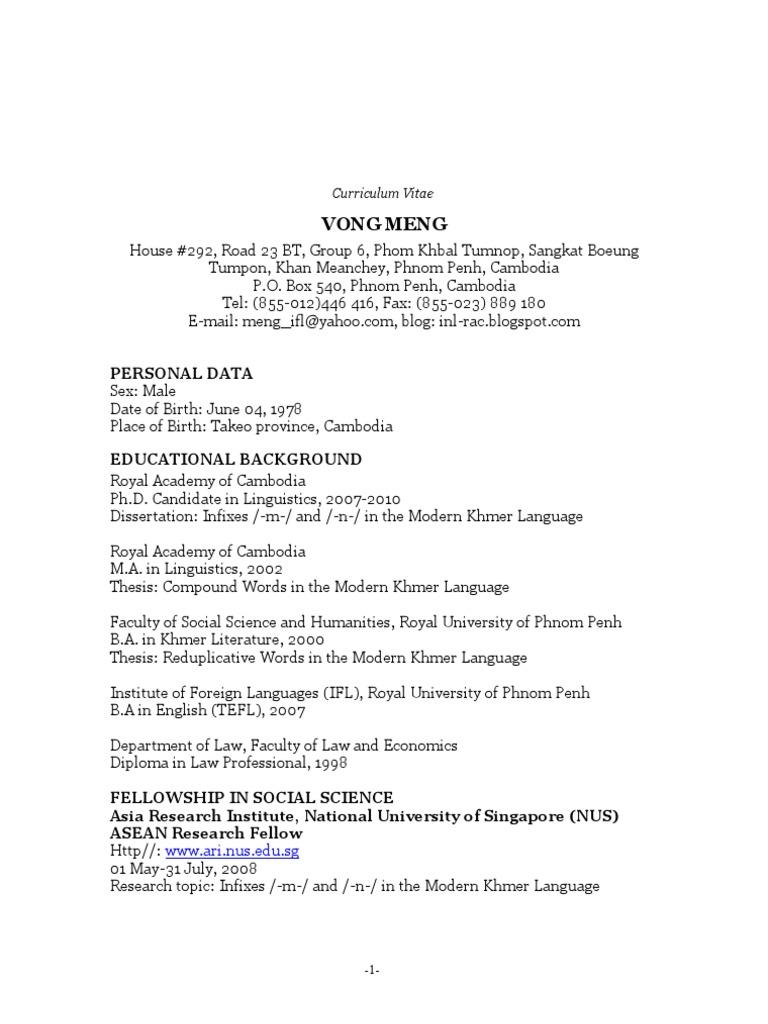 Curriculum Vitae Mmssss Y Yornorn Ssreyrey Rratanaatana Mobile Phone
