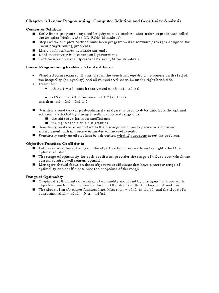 Taylor Chap 3 Linear Programming Sensitivity Analysis Linear