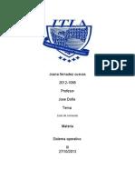 lista de comandos utilizados
