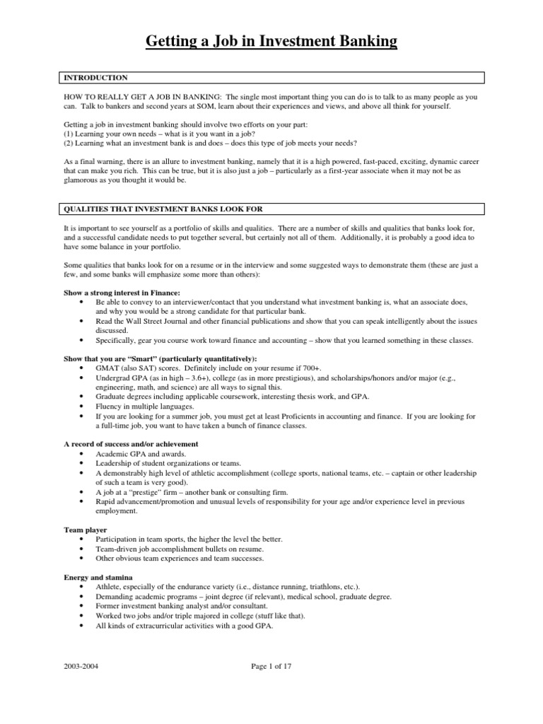 Getting a job in investment banking introduction how to really getting a job in investment banking introduction how to really financial analyst capital market fandeluxe Image collections