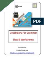Vocabulary for Grammar