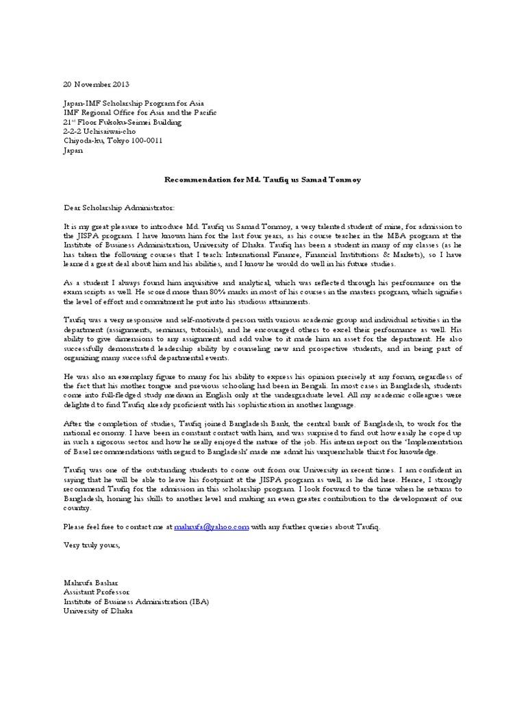 Scholarship Recommendation Letter Sample from imgv2-1-f.scribdassets.com