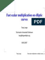 Fast scalar multiplication on Elliptic Curves — Tanja Lange
