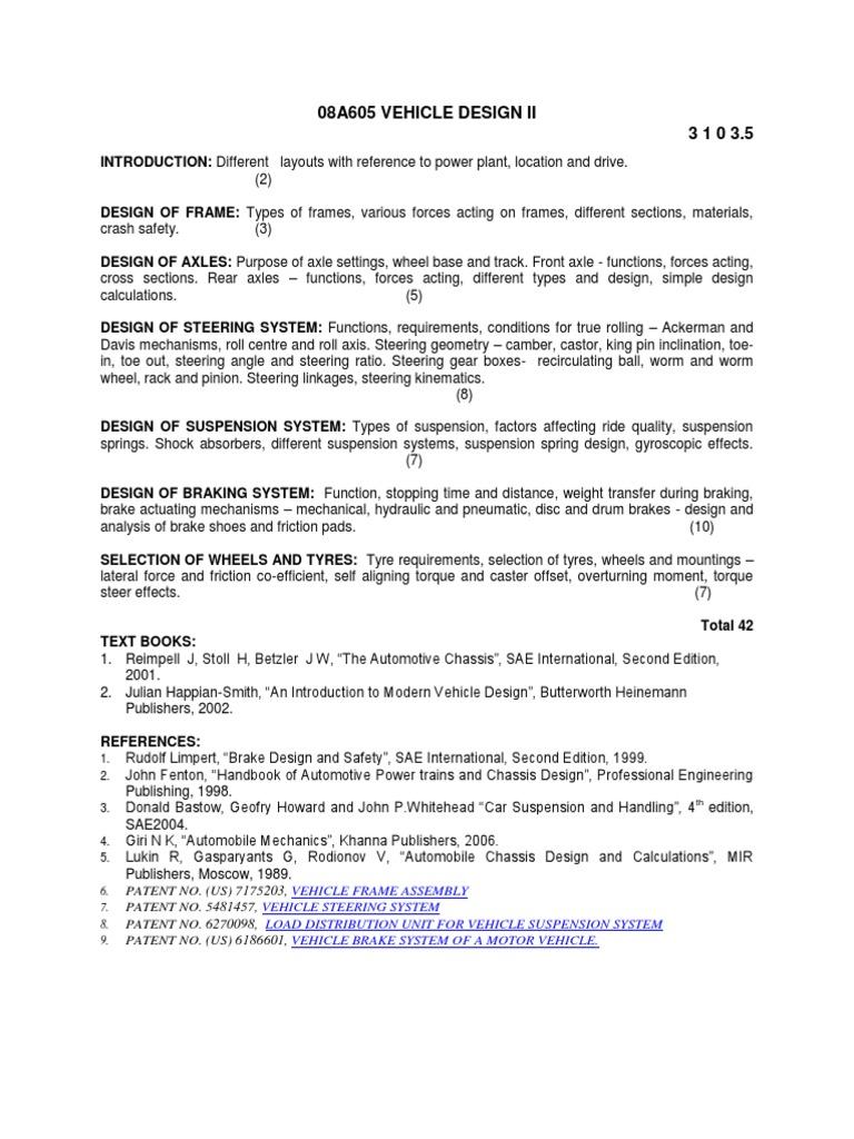 08a605 Vehicle Design II | Steering | Suspension (Vehicle)