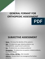 General Format for Orthopedic Assessment