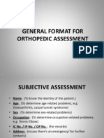 General Format for Orthopedic Assessment