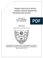 Thermodynamic Analysis of a Lithium Bromide Water Absorption System