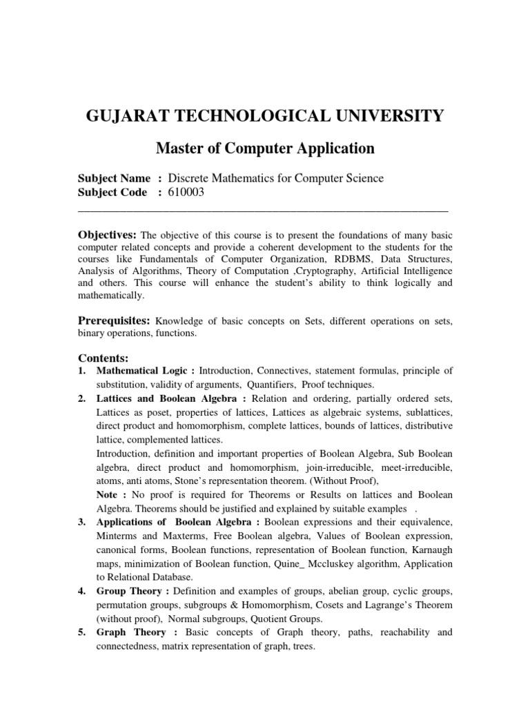 Discrete Mathematics for Computer Science | Group (Mathematics) | Boolean  Algebra