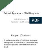 Critical Appraisal (Tutorial)– EBM Diagnosis