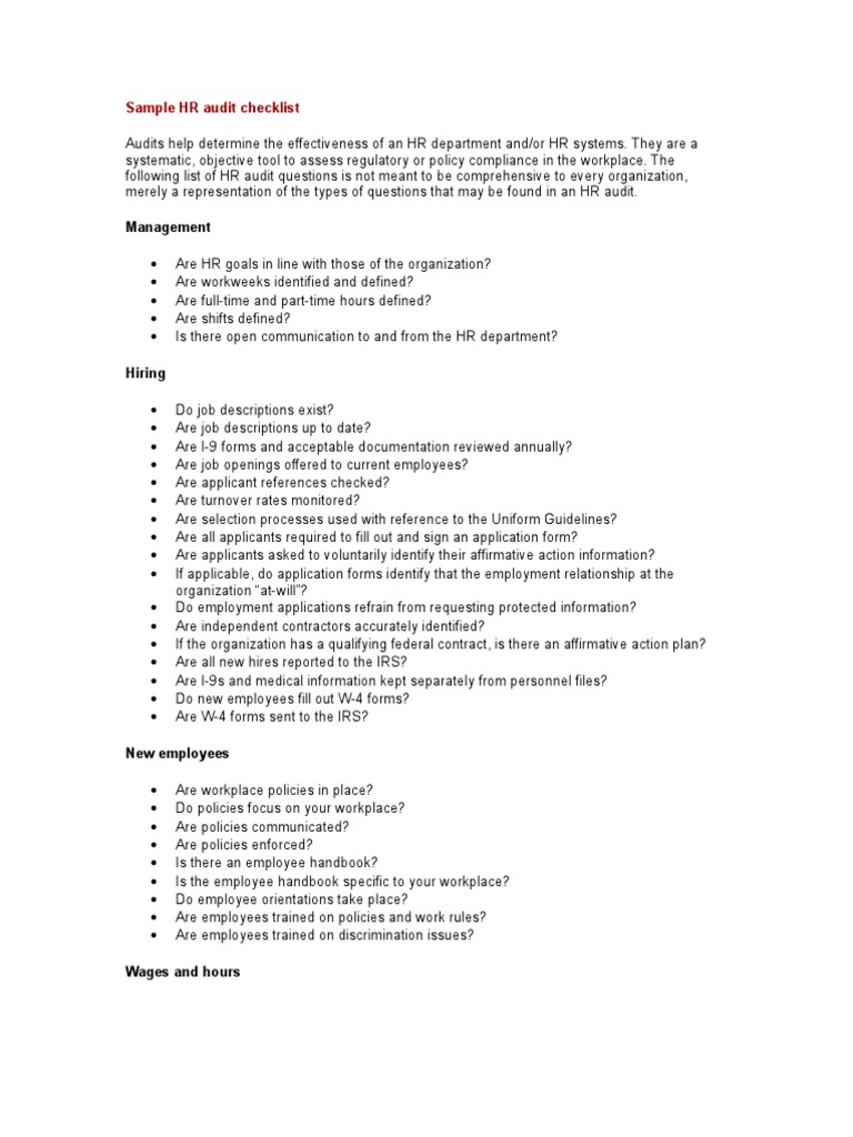 sample hr audit checklist irs tax forms fair labor standards act