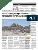 Huaca tallán protegida en 1993 fue cercada por dueño ilegítimo