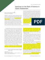 Morison-Saunders & Bailey 2003 - Science in Environmental Assessment Wednesday