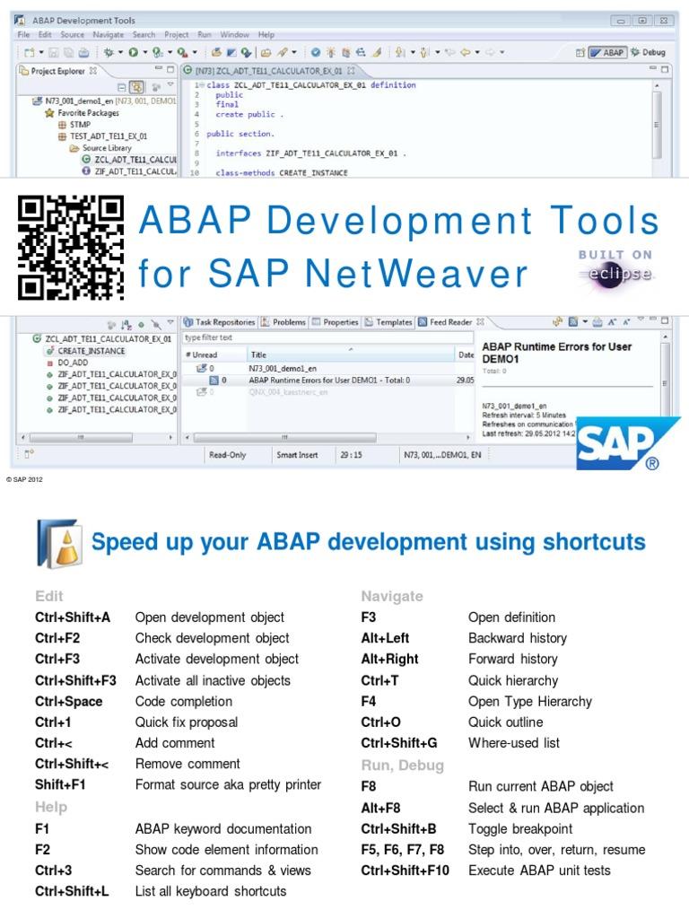 ABAP Development Tools Tutorials - Quick Reference CardABAP Development Tools Tutorials - Quick Reference Card