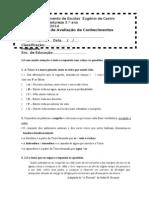 Ficha de avaliação para  5º ano cn