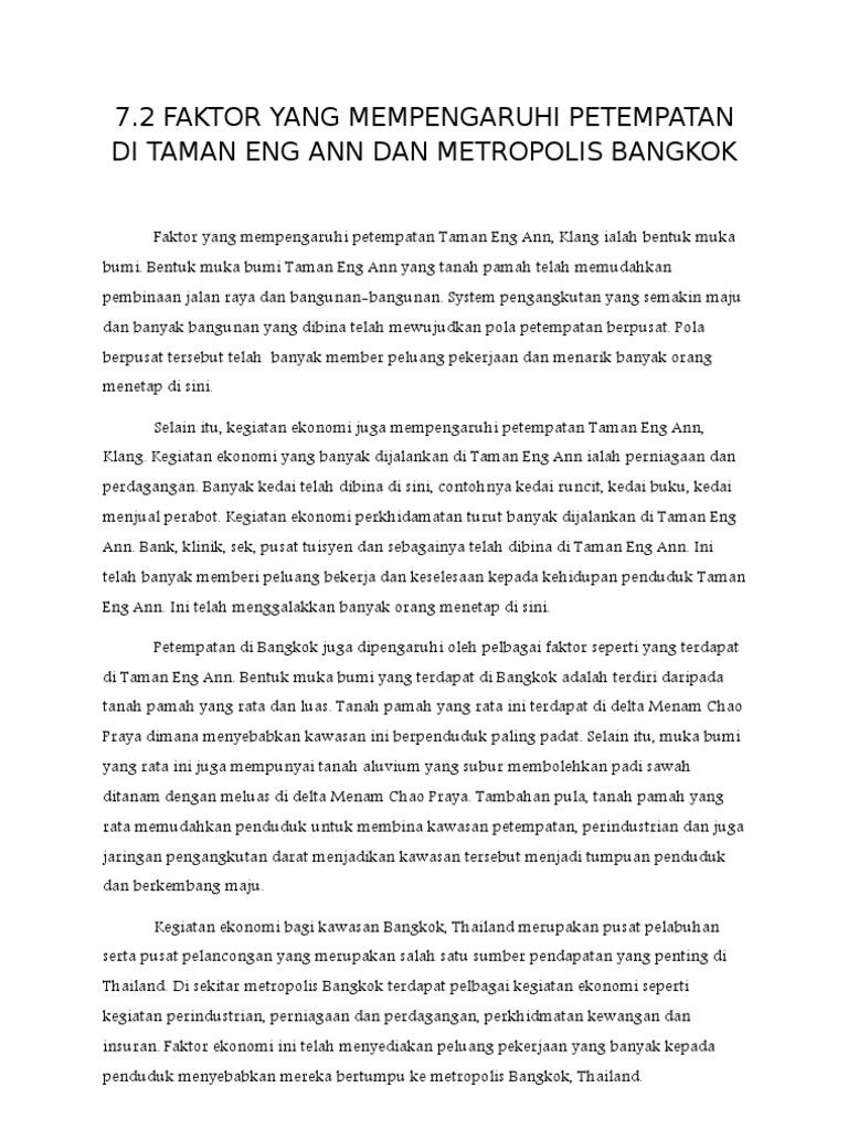 Faktor Yang Mempengaruhi Petempatan Di Taman Eng Ann Dan Metropolis Bangkok
