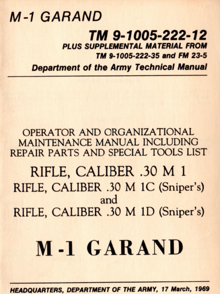 Us Army Tm 9 1005 222 12 M1 Garand M1c Sniper And M1d Each Of The 60 Parts From Az With Images Diagrams March 1969 Rifle Cartridge Firearms