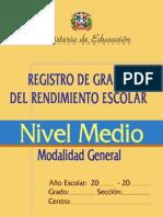 Registro de Grado Nivel Medio Modalidad General
