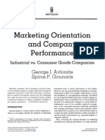 Marketing Orientation and Company Performance a Comparative Study of Industrial vs. Consumer Goods Companies
