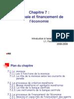 IAE Chap 7 - Monnaie et Financement de l'économie