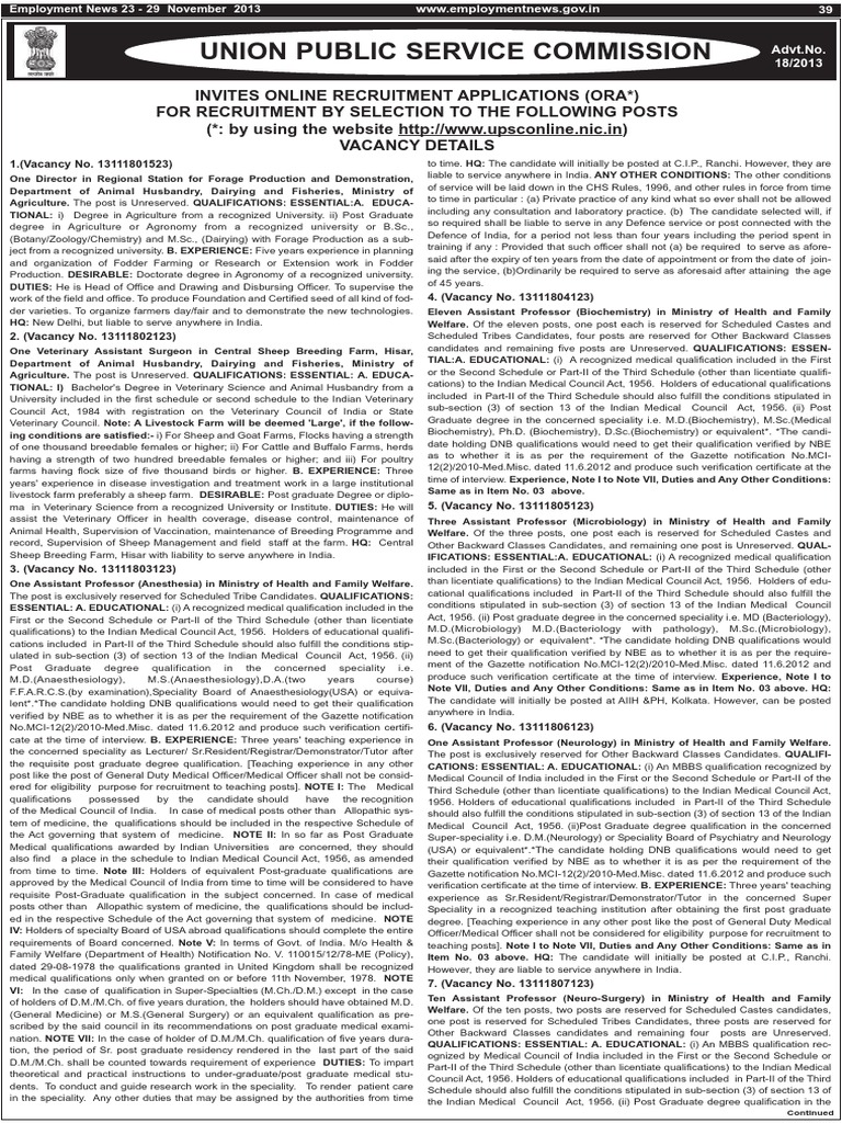 Upsc job notification for various posts doctor of medicine upsc job notification for various posts doctor of medicine institute of technology aiddatafo Images
