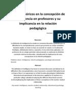 Influjos teóricos en la concepción de inteligencia en profesores y su implicancia en la relación pedagógica