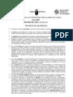 Criterios de Evaluacion Historia Del Arte- Junio 2009