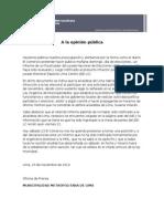 MML se pronuncia sobre informe preliminar del JNE que publicará El Comercio