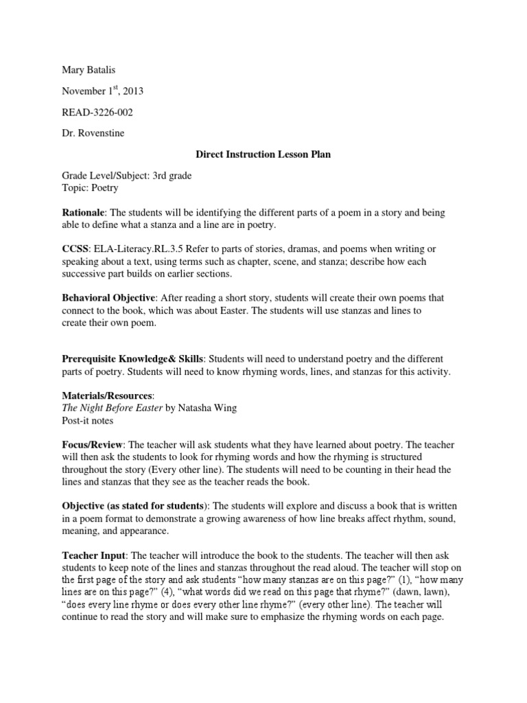 Direct Instruction Lesson Plan Poetry Lesson Plan