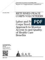 Peace Corps Benefits and Department of Labor Approaches For Returned  |  November 2012