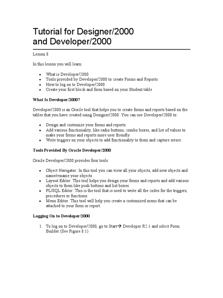 Tutorial for Designer and Developer 2000 | Pl/Sql | Oracle