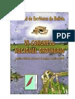 Memoria de VI Congreso de Esritores de Bolivia