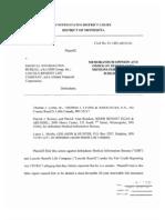 Medical Information Bureau MIB v Federal Insurance Corp MIB_Olwell_JudgesMemo