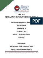 Krm 3073 - Pengajaran Matematik Sr Tugasan 1 (Daliah Binti Sinawi @Semawi - d 20102043284)