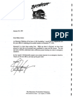 David Hasselhoff calls himself Honorary Chairman of Save-A-Life Foundation in 1/28/99 letter to Pulaski School student