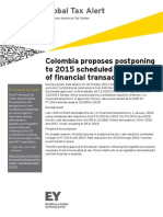 Colombia Proposes Postponing to 2015 Scheduled Reduction of Financial Transactions Levy
