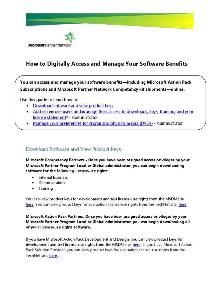 microsoft downloads and keys