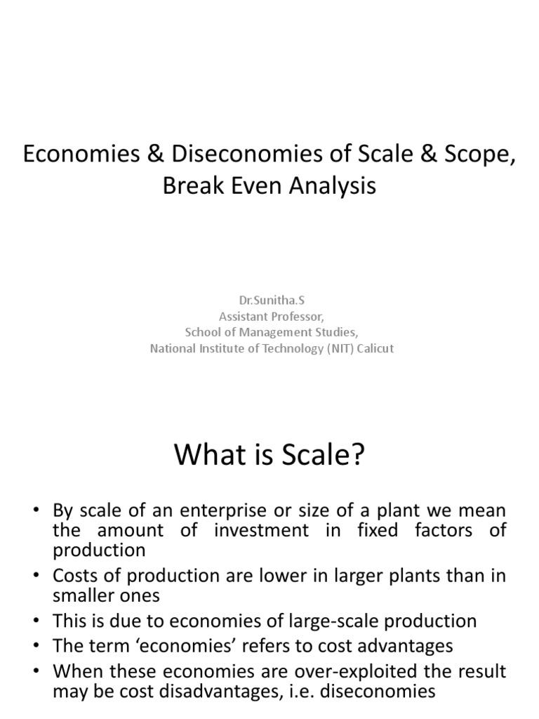 Economies & Diseconomies of Scale & Scope   Average Cost
