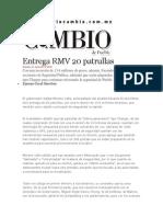 21-06-2013 Diario Matutino Cambio de Puebla - Entrega RMV 20 Patrullas