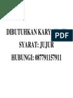 DIBUTUHKAN KARYAWATI
