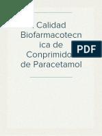Calidad Biofarmacotecnica de Conprimidos de Paracetamol