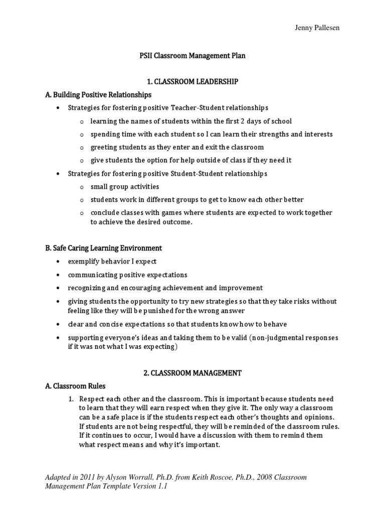 psii classroom management plan | classroom management | learning