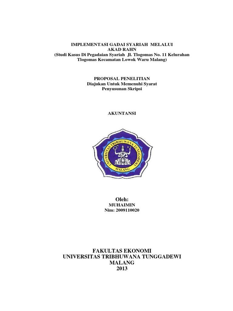 Proposal Penelitian Implementasi Gadai Syariah Melalui Akad Rahn
