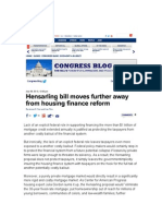 Hensarling Bill Moves Further Away from Housing Finance Reform