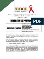 Mensaje de REDBOL en el Día Mundial del VIH 2013