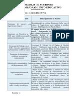 Ejemplos de Acciones de Lenguaje-plan de Mejoramiento Educativo