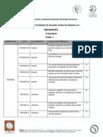 tabla de aprendizajes y trenes de respuesta evaluación estatal 2011 en primaria