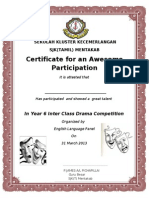 English Drama Competition Certificate 2013