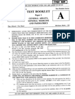 Combined Medical Services Exam 2013 - General Ability, General Medicine & Paediatrics Paper I