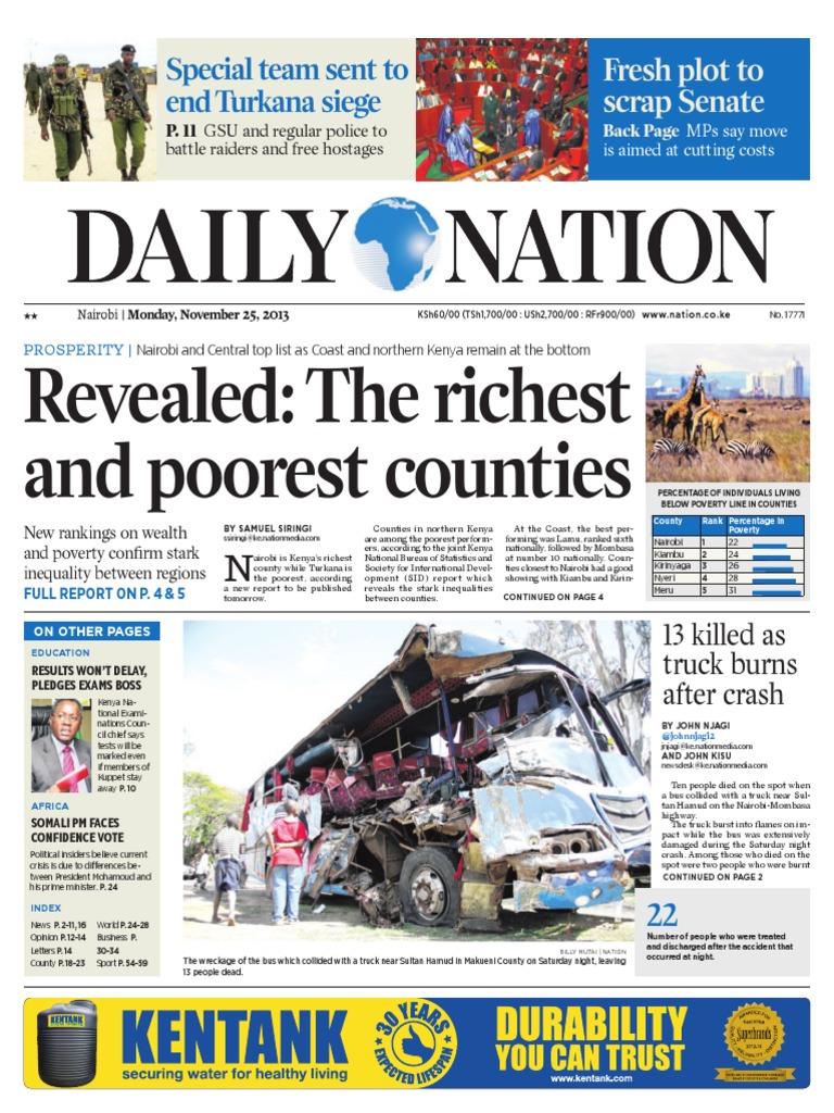 Daily Nation 25 11 13 International Criminal Court Poverty