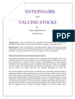 Questionnaire on Valuing Stocks